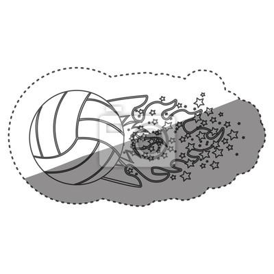 Aufkleber Graustufen Kontur mit olympischen Flamme mit Sternen und Volleyball Ball Vektor-Illustration