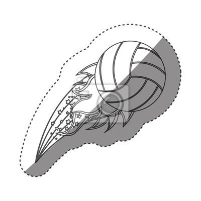 Aufkleber Graustufen Kontur mit olympischen Flamme mit Volleyball Ball Vektor-Illustration