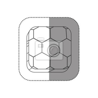 Aufkleber quadratischen Silhouette Button mit Kontur Fußball Form Ball Vektor-Illustration