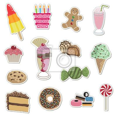 Aufkleber Sammlung - Kuchen, Süßigkeiten und Eis