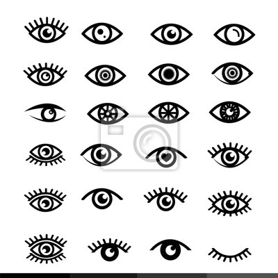 Fototapete Augen-Icon-Set Illustration Design