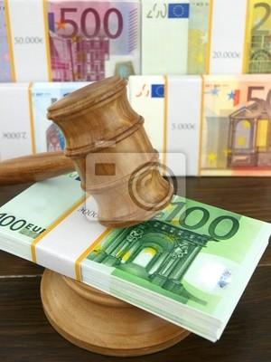 Auktion Gavel und Euro