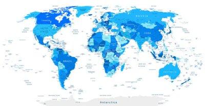 Fototapete Ausführliche Weltkarte Blau