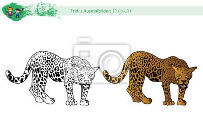 Fototapete Ausmalbild Jaguar