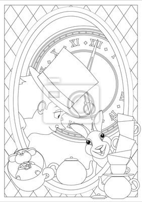 Ausmalbilder Alice Im Wunderland Wütende Teeparty Fototapete