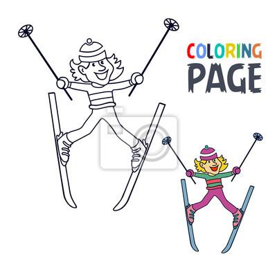 Fototapete Ausmalbilder Mit Frauen Eis Skifahren Spieler Cartoon