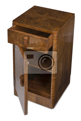 Holz Nachttisch ausschnitt aus holz nachttisch geöffnet tür und schublade fototapete