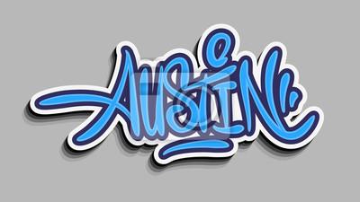 Austin Texas Usa Hand Lettering Sticker Design.