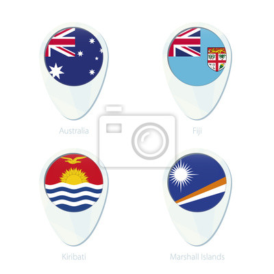 Australia, fiji, kiribati, marshall islands flag location map ...