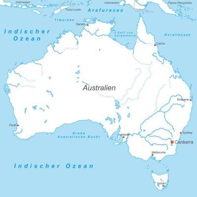 Fototapete Australien in Weiß (beschriftet) - Vektor