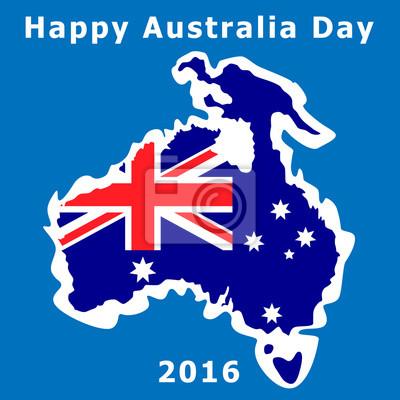 Australien-Tag. Die Nationalflagge. Abbildung. Konturkarten im Hintergrund des Ozeans