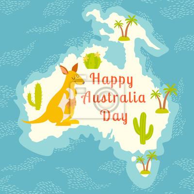 Australien-Tag. Kontur-Karten im Hintergrund des Ozeans mit lustigen Cartoon-Känguru und Kaktus, Palm. Abbildung.