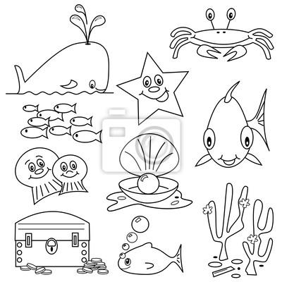Auswahl von leben im meer cliparts cartoons für malbuch fototapete ...