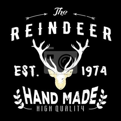 585b6bafd2fd46 Fototapete Authentisches Hipster-Logo mit Rentier und Pfeilen. Schwarzes  Firmenzeichen
