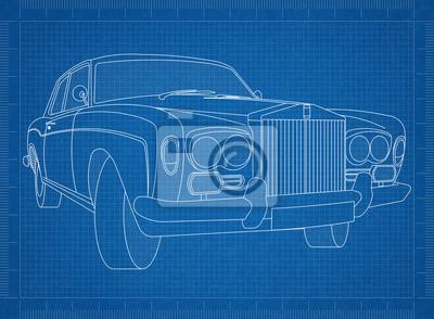 Auto-blaupause fototapete • fototapeten Oldtimer, Prototyp ...