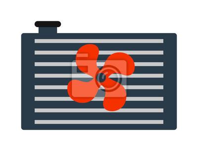 Auto-kühler-heizung-symbol auto teile kühlung, motor, metall ...