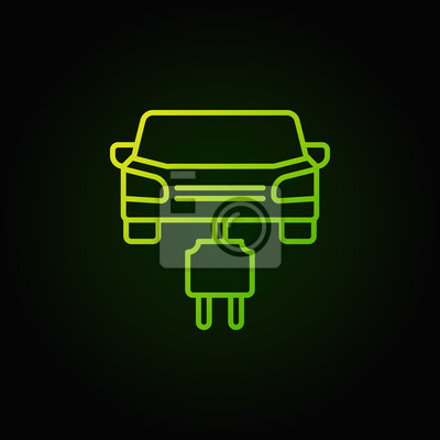 Auto mit stecker grüne linie symbol. vektor-elektro-auto-konzept ...