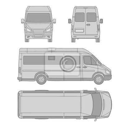 Auto-vorlage. nutzfahrzeug - lieferwagen. blaupause, zeichnung ...