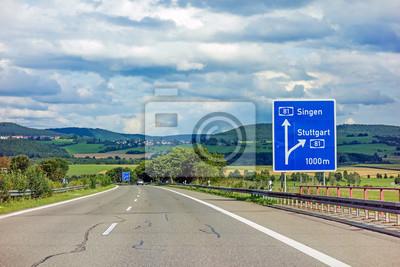 Autobahn Schild Auf Der Autobahn A81 Mit Ausfahrt Nach Stuttgart
