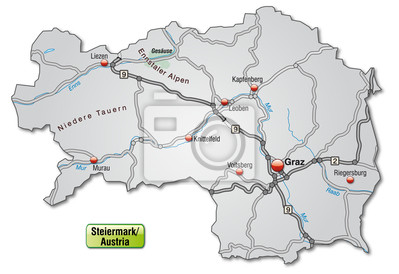 Autobahnkarte Der Steiermark Fototapete Fototapeten Kontaktieren