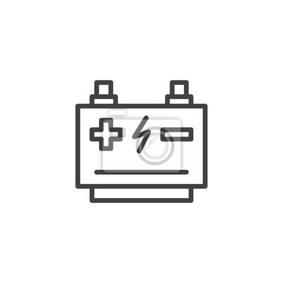 Autobatterie-umriss-symbol. lineare stil zeichen für mobile konzept ...