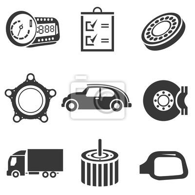 Automobil-ikonen, autoteile und garage symbole fototapete ...