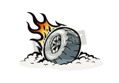 Autorad mit brennendem Feuer. Vektorillustration für Tätowierung, lokalisierter weißer Hintergrund eps10. Speed-Rennen. Autoteil. Extremsport.