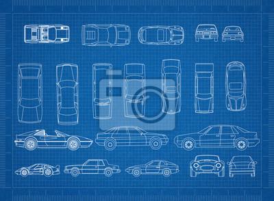 Autos blaupause fototapete • fototapeten Prototyp, coupe, Motor ...