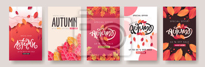 Fototapete Autumn sale background layout decorate with leaves for shopping sale or promo poster and frame leaflet or web banner.Vector illustration template.
