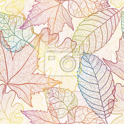 Autumn transparent Ahornblätter nahtlose Muster Hintergrund.