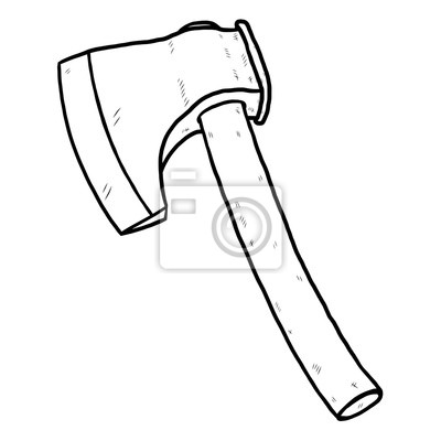 Fototapete axe / cartoon vector and illustration, black and white, hand drawn, sketch style, isolated on white background.