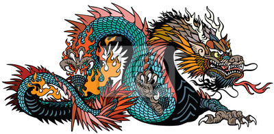 Fototapete azure also blue green Chinese dragon. Asian and Eastern mythological creature. Isolated tattoo style vector illustration