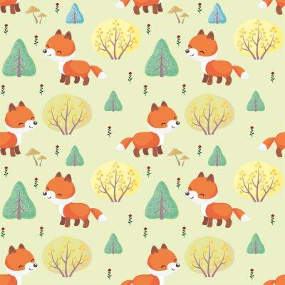 Fototapete Baby bunte nahtlose Muster mit dem Bild von einem niedlichen Wald Tiere. Vektor Hintergrund.
