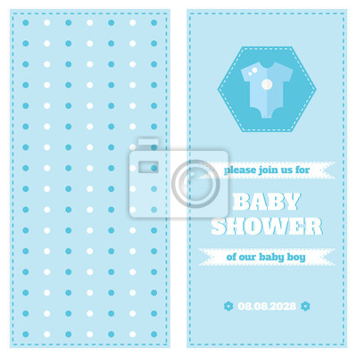 Fototapete Baby Card Design Template Shower Two Side Welcome