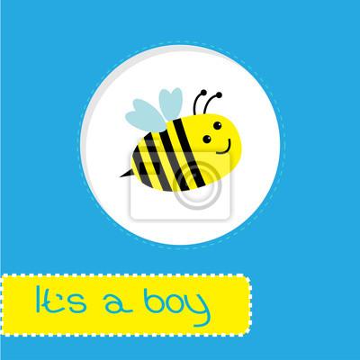 Baby-Dusche-Karte mit Biene. Es ist ein Junge