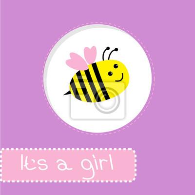 Baby-Dusche-Karte mit Biene. Es ist ein Mädchen