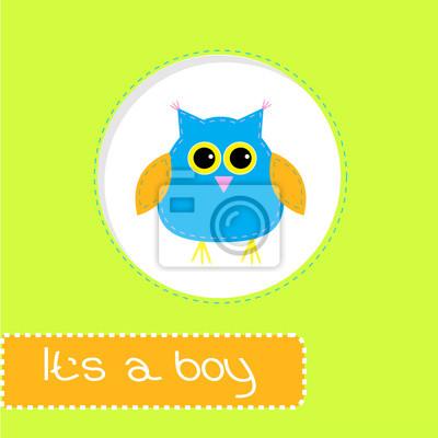 Baby-Dusche-Karte mit blauen Eule. Es ist ein Junge