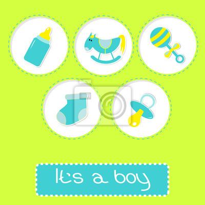 Baby-Dusche-Karte mit Flasche, Pferd, Rassel, Schnuller und so