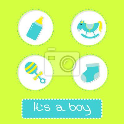 Baby-Dusche-Karte mit Flasche, Pferd, Rassel und Socke.