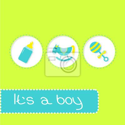 Baby-Dusche-Karte mit Flasche, Pferd und Schnuller