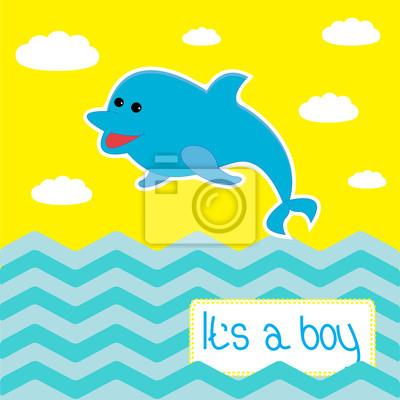 Baby-Dusche-Karte mit niedlichen Delfin