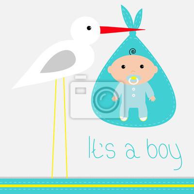 Baby-Dusche-Karte mit Storch. Es ist ein Junge.