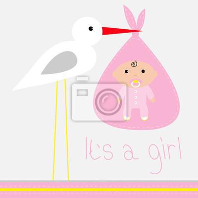 Baby-Dusche-Karte mit Storch. Es ist ein Mädchen.
