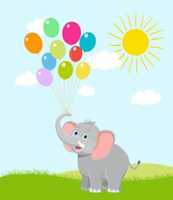 Fototapete Baby-Elefanten mit Luftballons, Wolken und Sonne. Vektor Zeichentrickfilm. Hap