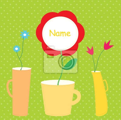 Baby-Karte mit Blumen-Vasen lustige Design