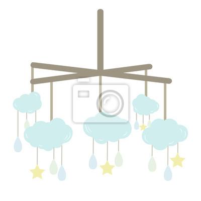 Baby Mobile Mit Wolken Sterne Und Drops Fototapete Fototapeten
