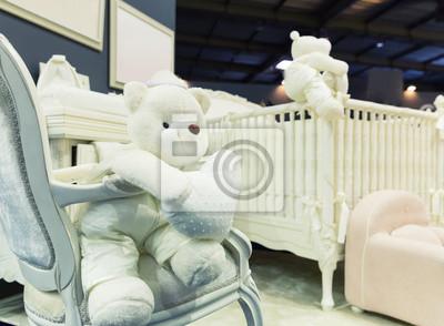 Baby-schlafzimmer mit weißen teddybären fototapete • fototapeten ...
