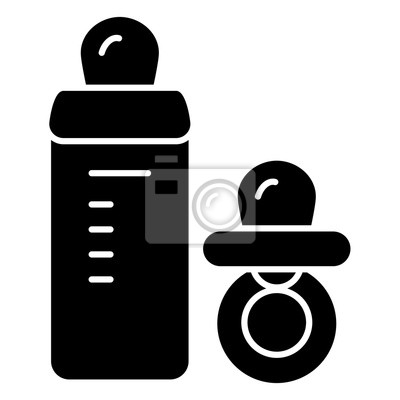 Baby Schnuller Und Flasche Vektor Symbol Schwarz Weiß Baby Dummy