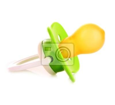 Baby-Silikon-Schnuller in grüner Farbe, isoliert auf weißem backgro