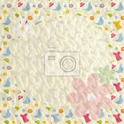 Baby-Textil-Hintergrund mit Kleidern, Vögel und Blumen